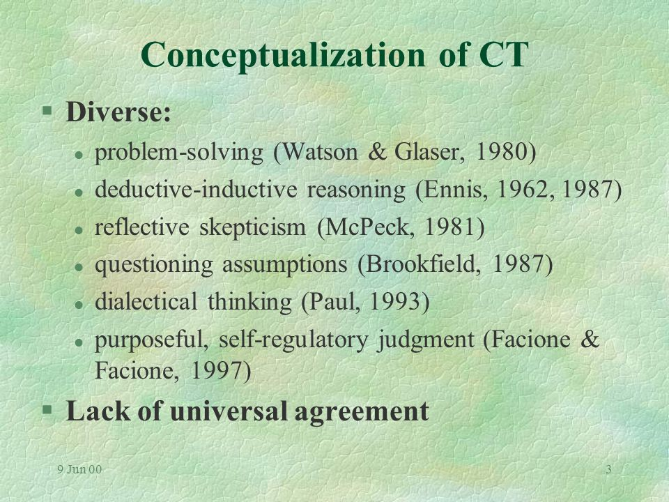 9 Jun 002 Measuring CT: Some problems & possible solutions §(1) Is the conception of CT defensible?