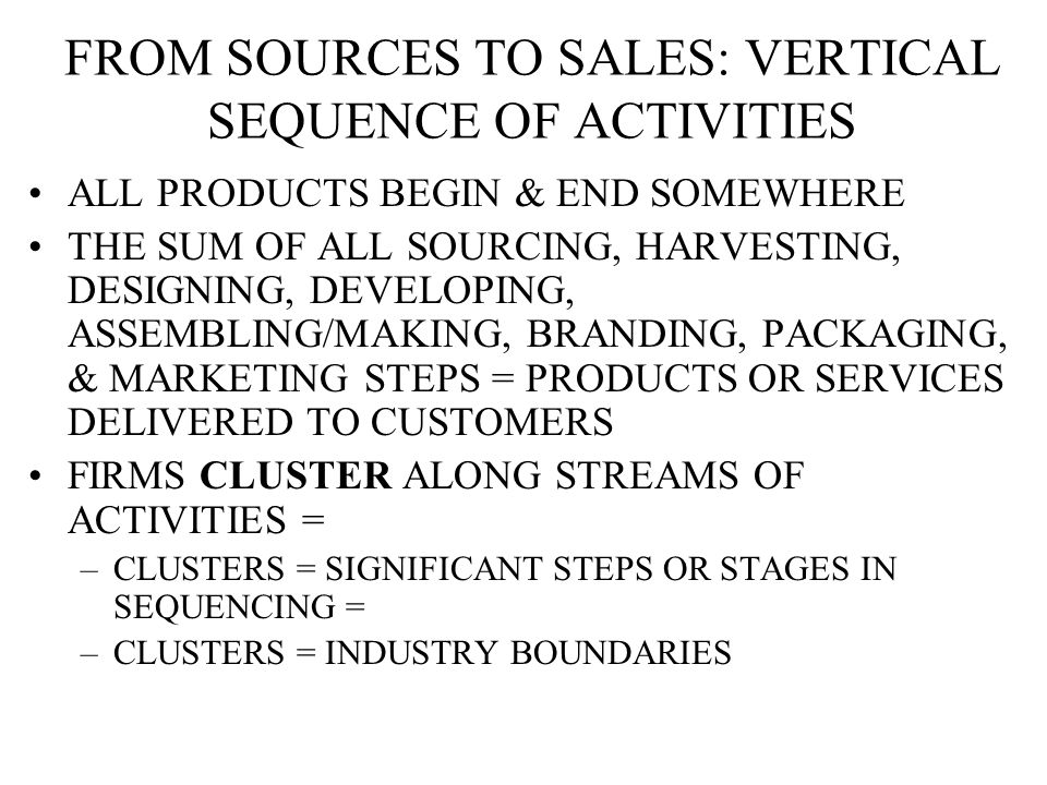 FROM SOURCES TO SALES: VERTICAL SEQUENCE OF ACTIVITIES ALL PRODUCTS BEGIN & END SOMEWHERE THE SUM OF ALL SOURCING, HARVESTING, DESIGNING, DEVELOPING, ASSEMBLING/MAKING, BRANDING, PACKAGING, & MARKETING STEPS = PRODUCTS OR SERVICES DELIVERED TO CUSTOMERS FIRMS CLUSTER ALONG STREAMS OF ACTIVITIES = –CLUSTERS = SIGNIFICANT STEPS OR STAGES IN SEQUENCING = –CLUSTERS = INDUSTRY BOUNDARIES