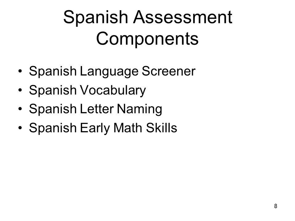 8 Spanish Assessment Components Spanish Language Screener Spanish Vocabulary Spanish Letter Naming Spanish Early Math Skills
