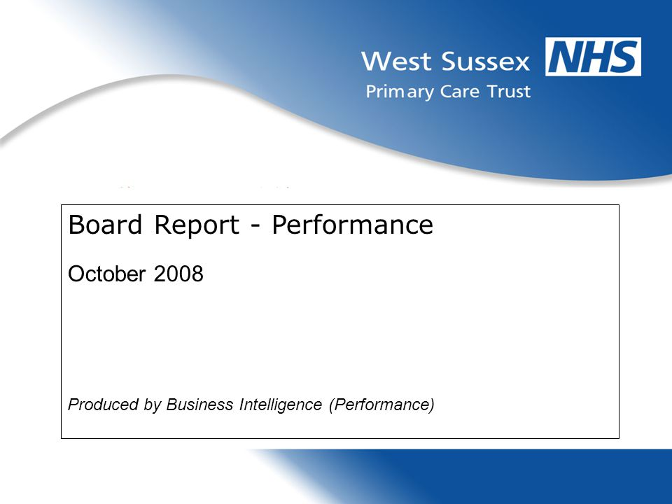 Board Report - Performance October 2008 Produced by Business Intelligence (Performance)