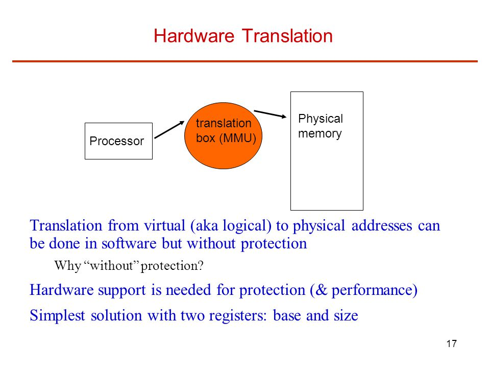 17 Hardware Translation Translation from virtual (aka logical) to physical addresses can be done in software but without protection Why without protection.