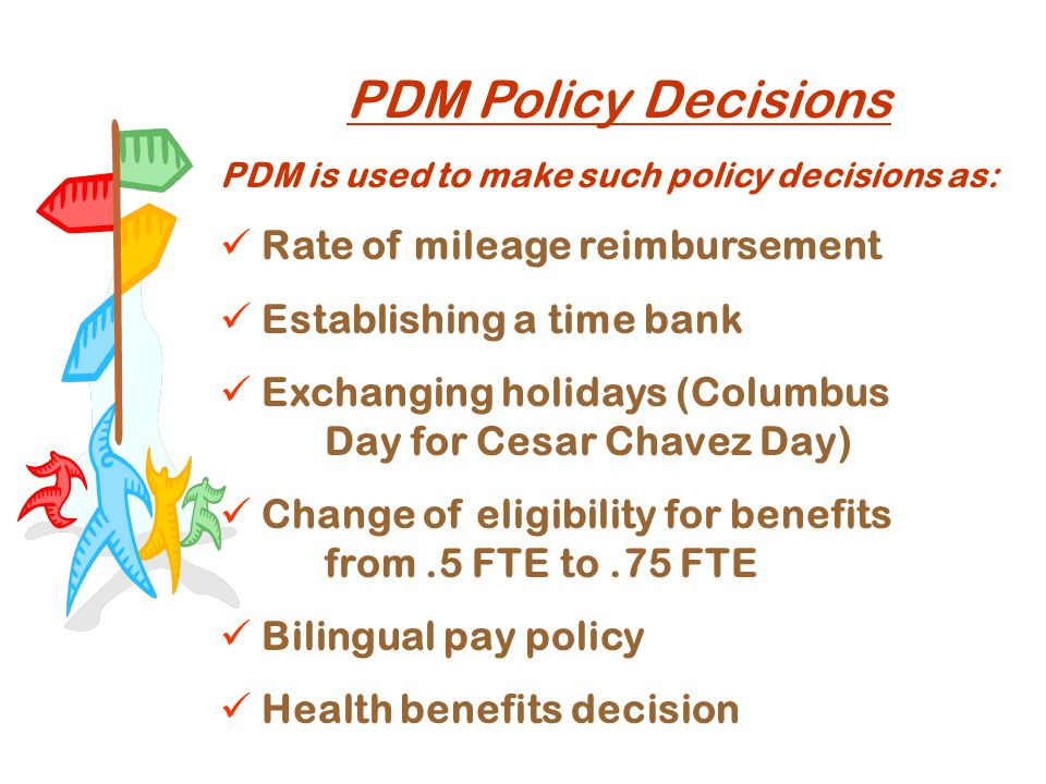 PDM Policy Decisions PDM is used to make such policy decisions as: Rate of mileage reimbursement Establishing a time bank Exchanging holidays (Columbus Day for Cesar Chavez Day) Change of eligibility for benefits from.5 FTE to.75 FTE Bilingual pay policy Health benefits decision