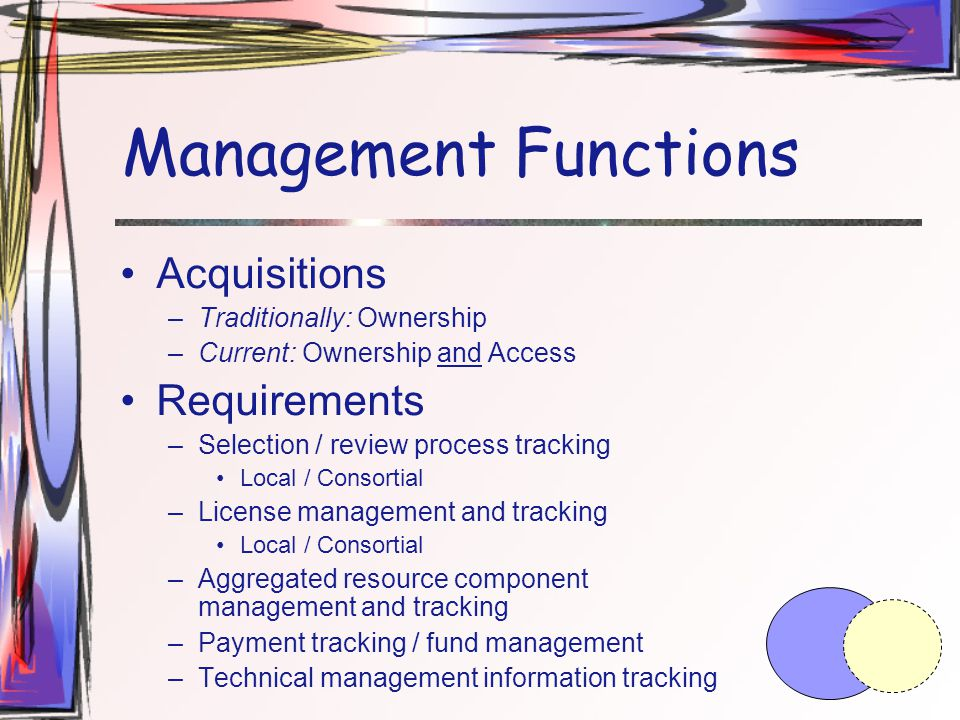 Management Functions Acquisitions –Traditionally: Ownership –Current: Ownership and Access Requirements –Selection / review process tracking Local / Consortial –License management and tracking Local / Consortial –Aggregated resource component management and tracking –Payment tracking / fund management –Technical management information tracking