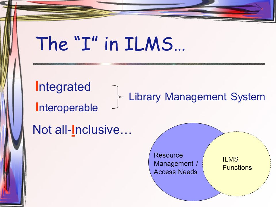 The I in ILMS… I ntegrated Library Management System Not all-Inclusive… I nteroperable Resource Management / Access Needs ILMS Functions