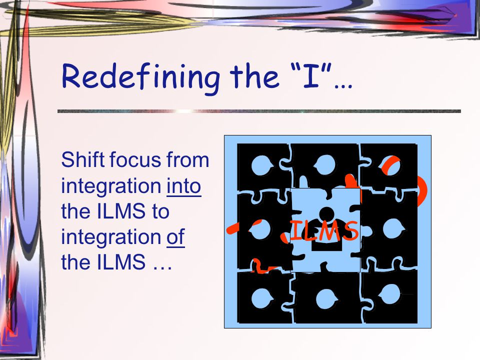 """Redefining the """"I""""… Shift focus from integration into the ILMS to integration of the ILMS … ILMS"""