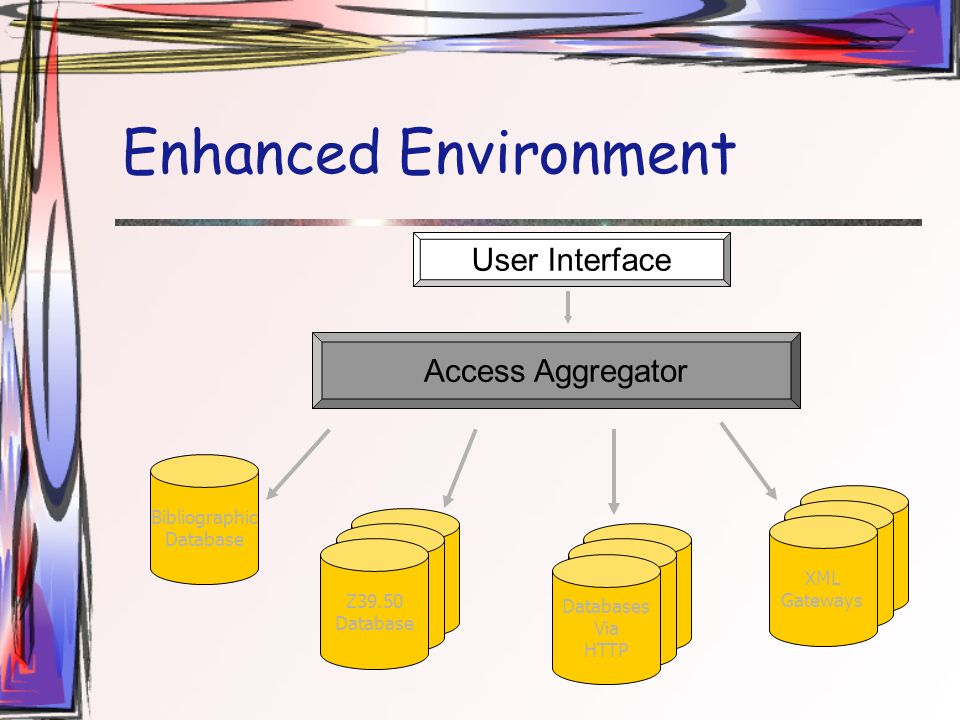 Enhanced Environment User Interface Bibliographic Database Z39.50 Database Z39.50 Database Z39.50 Database Z39.50 Database Z39.50 Database Databases Via HTTP Z39.50 Database Z39.50 Database XML Gateways Access Aggregator