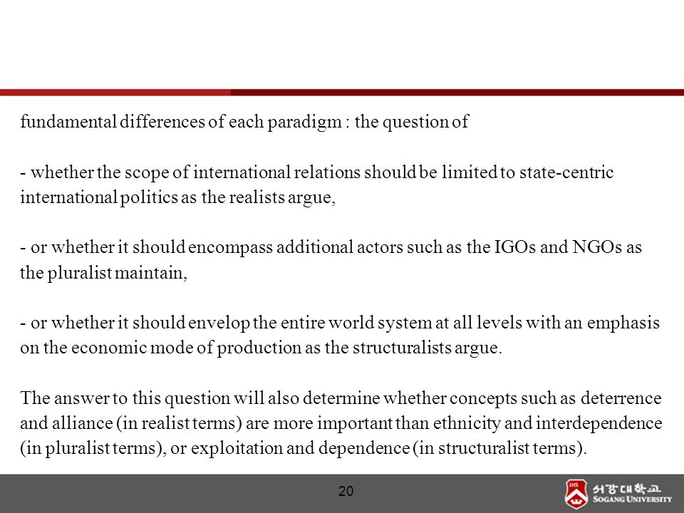 20 fundamental differences of each paradigm : the question of - whether the scope of international relations should be limited to state-centric intern
