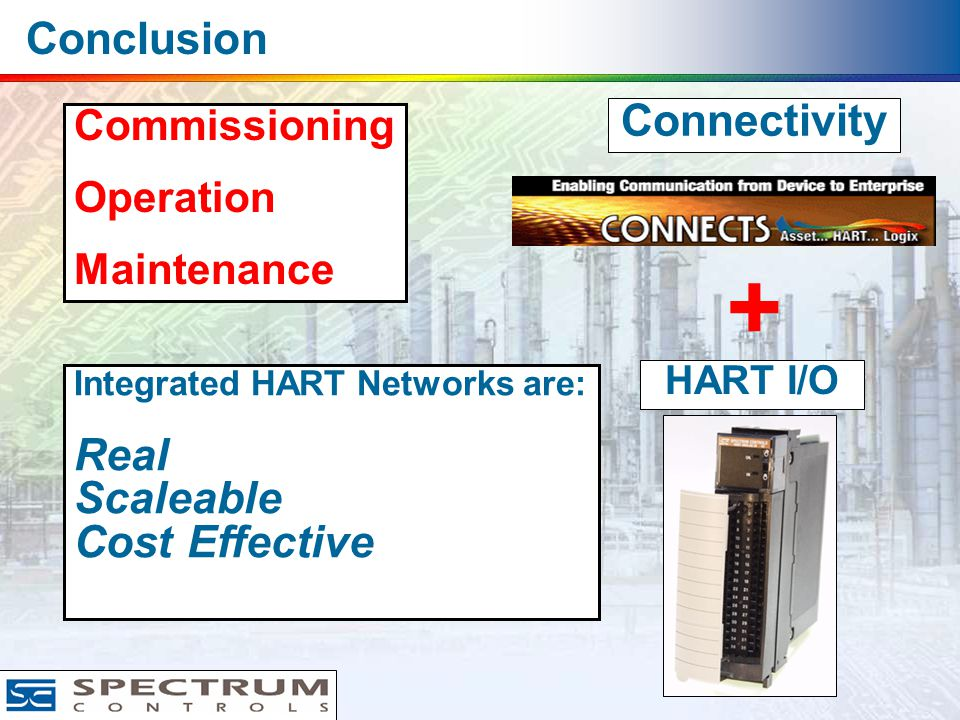 Conclusion + Connectivity HART I/O Commissioning Operation Maintenance Integrated HART Networks are: Real Scaleable Cost Effective