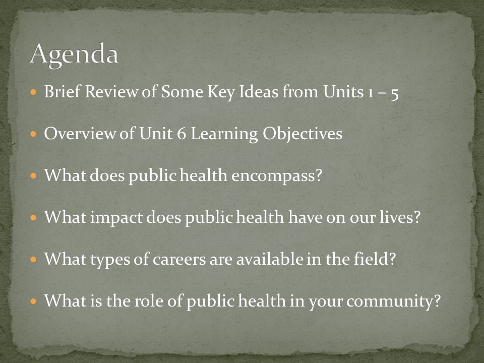Brief Review of Some Key Ideas from Units 1 – 5 Overview of Unit 6 Learning Objectives What does public health encompass? What impact does public heal
