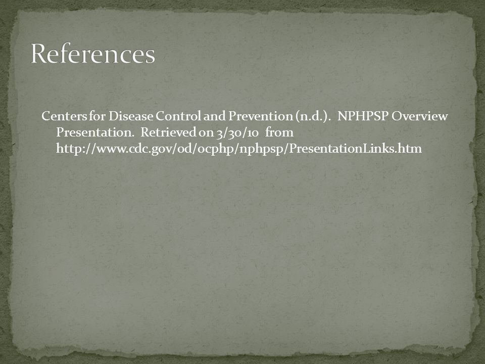 Centers for Disease Control and Prevention (n.d.).