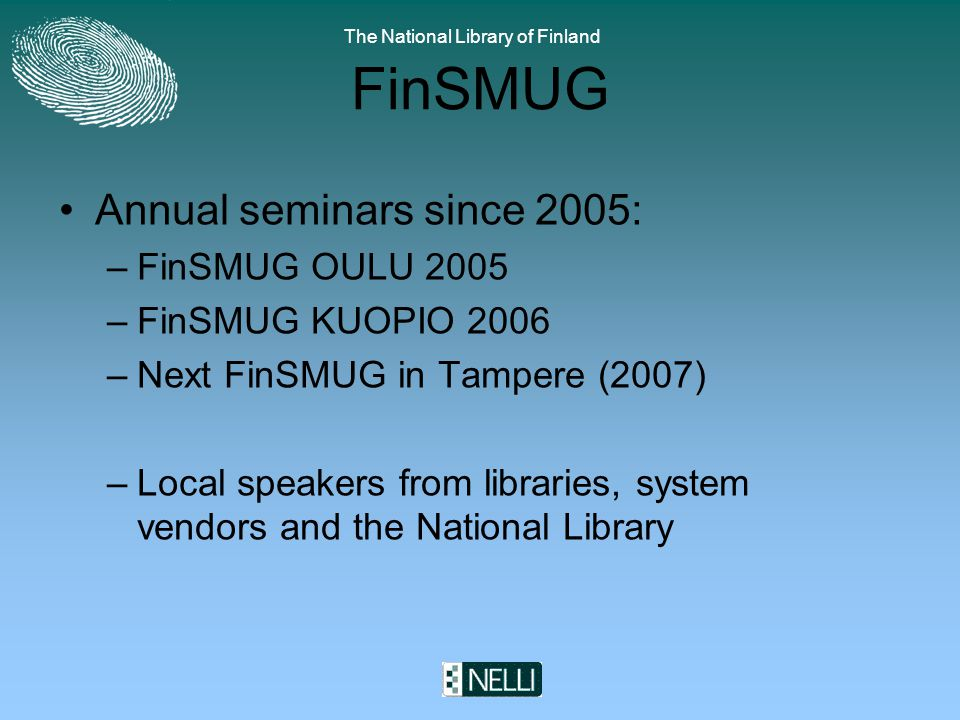 The National Library of Finland FinSMUG We have also had Verde and Primo presentations and an exposing presentation Google Scholar versus Metasearch systems .