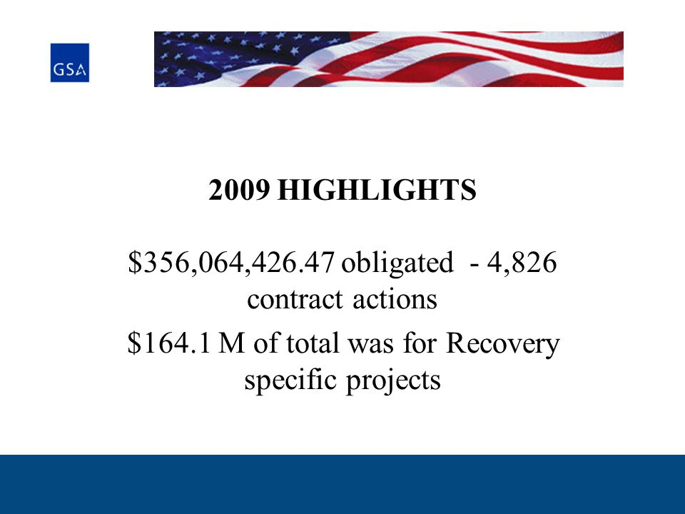2009 HIGHLIGHTS $356,064,426.47 obligated - 4,826 contract actions $164.1 M of total was for Recovery specific projects