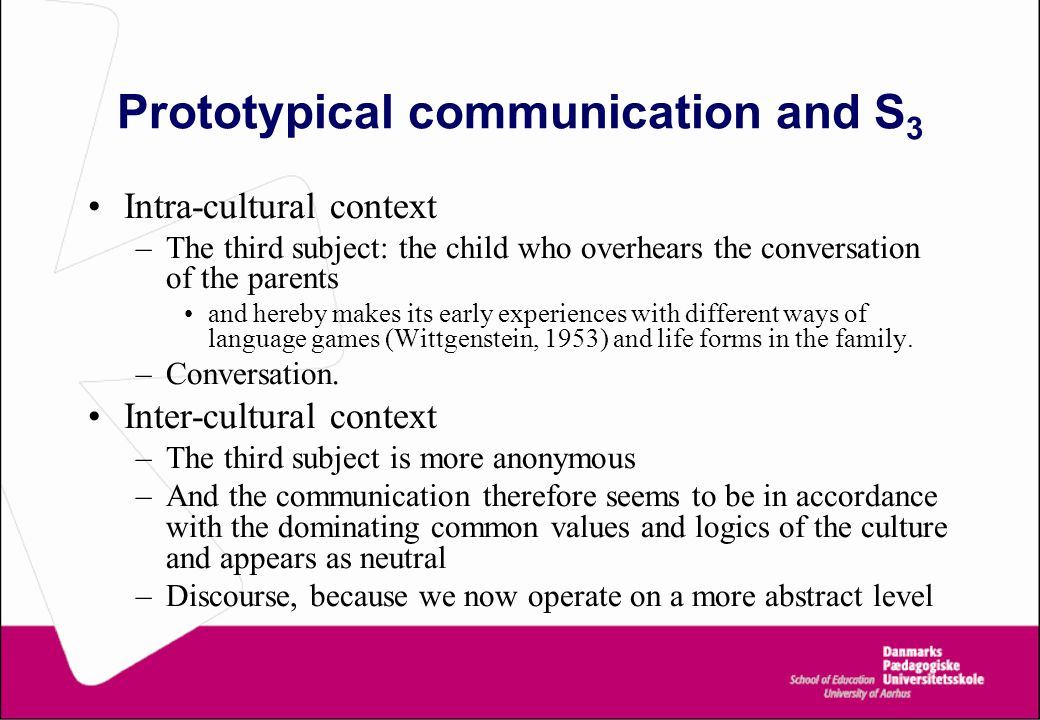 Prototypical communication and S 3 Intra-cultural context –The third subject: the child who overhears the conversation of the parents and hereby makes