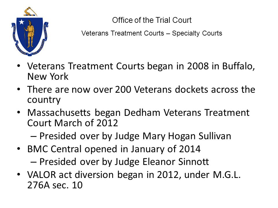Veterans Treatment Courts began in 2008 in Buffalo, New York There are now over 200 Veterans dockets across the country Massachusetts began Dedham Veterans Treatment Court March of 2012 – Presided over by Judge Mary Hogan Sullivan BMC Central opened in January of 2014 – Presided over by Judge Eleanor Sinnott VALOR act diversion began in 2012, under M.G.L.