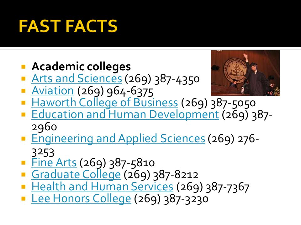  Academic colleges  Arts and Sciences (269) 387-4350 Arts and Sciences  Aviation (269) 964-6375 Aviation  Haworth College of Business (269) 387-50