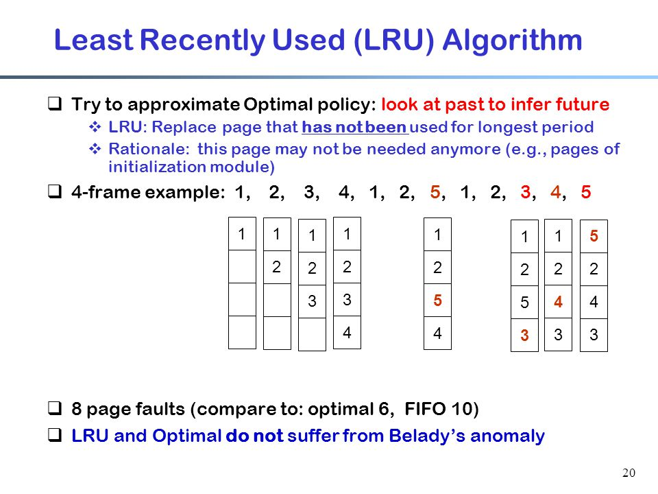 20 Least Recently Used (LRU) Algorithm  Try to approximate Optimal policy: look at past to infer future  LRU: Replace page that has not been used fo
