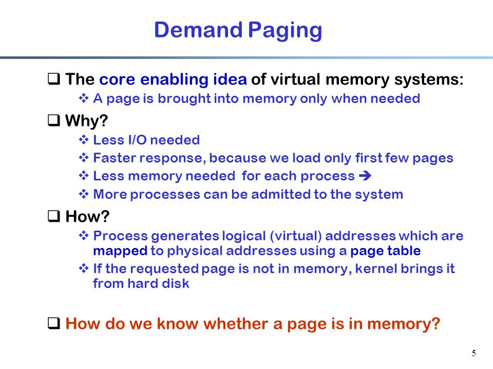 46 VM and Memory-Mapped Files  VM enables mapping a file to memory address space of a process  How.