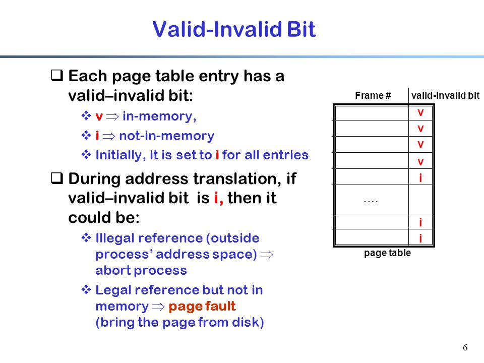 6  Each page table entry has a valid–invalid bit:  v  in-memory,  i  not-in-memory  Initially, it is set to i for all entries  During address t