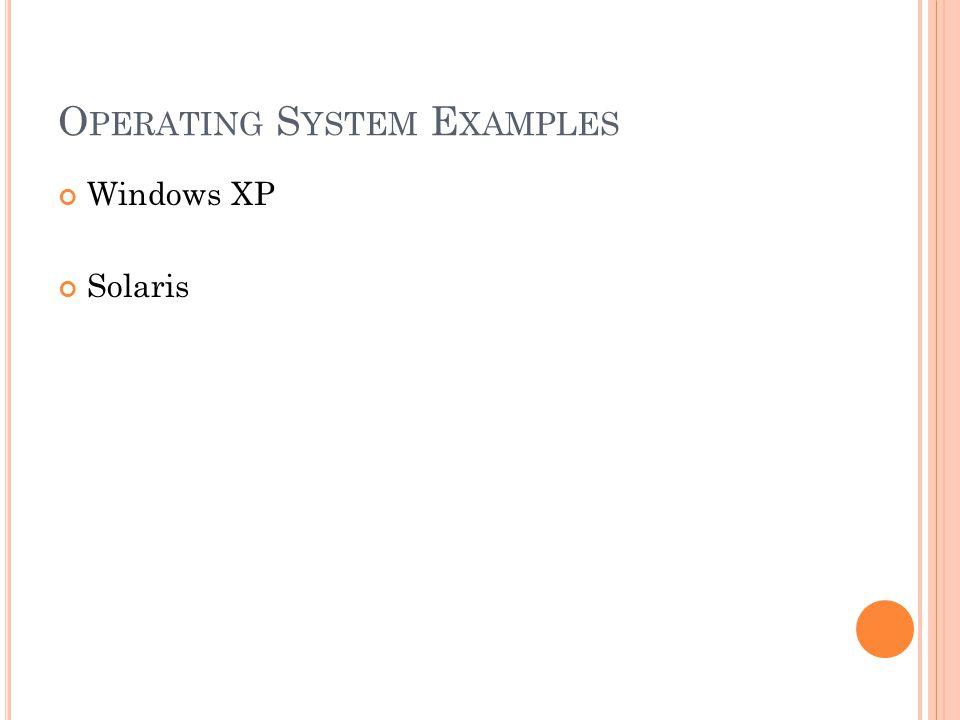 O PERATING S YSTEM E XAMPLES Windows XP Solaris