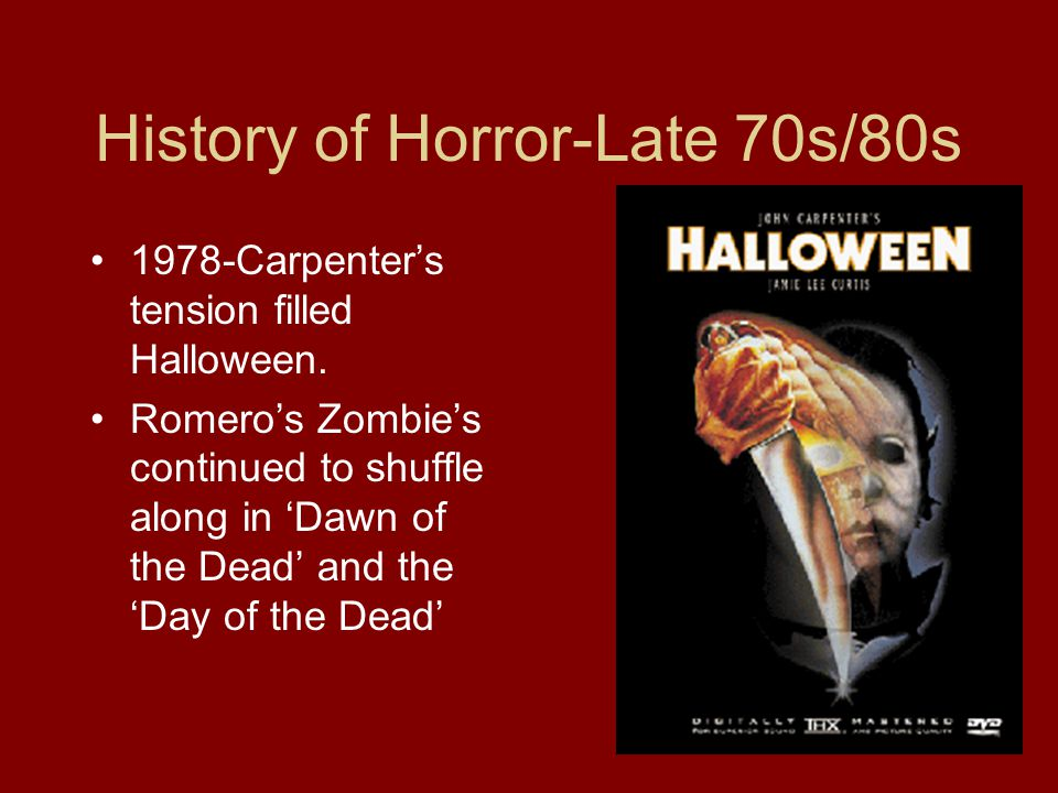 History of Horror-Late 70s/80s 1978-Carpenter's tension filled Halloween.