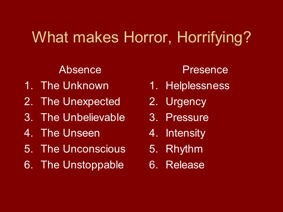 What makes Horror, Horrifying.