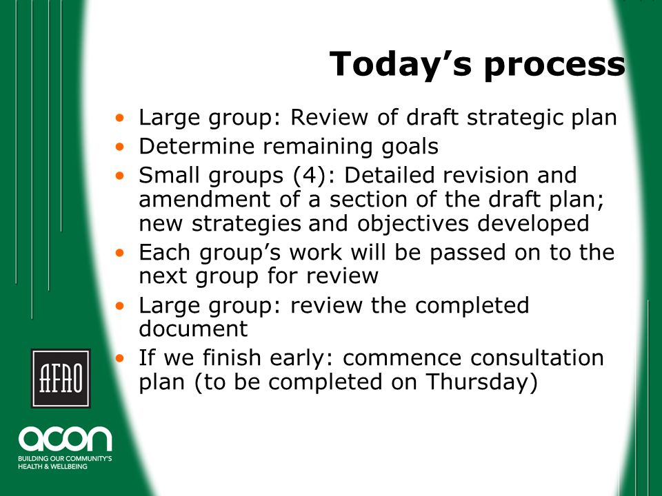 Today's process Large group: Review of draft strategic plan Determine remaining goals Small groups (4): Detailed revision and amendment of a section of the draft plan; new strategies and objectives developed Each group's work will be passed on to the next group for review Large group: review the completed document If we finish early: commence consultation plan (to be completed on Thursday)