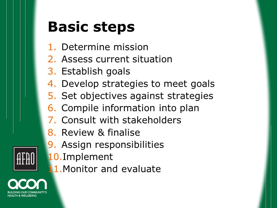 Determine mission Normally a simple, singular statement that answers: What is the organisation's purpose and intentions.
