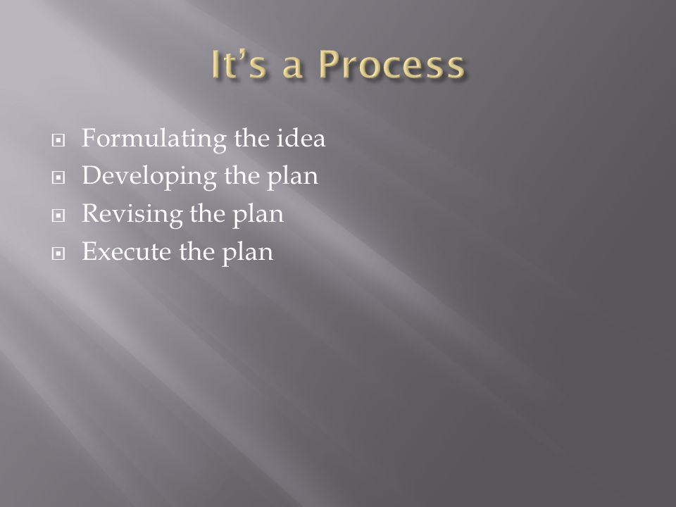  Formulating the idea  Developing the plan  Revising the plan  Execute the plan