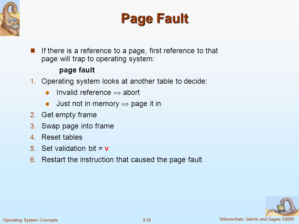 9.12 Silberschatz, Galvin and Gagne ©2005 Operating System Concepts Page Fault If there is a reference to a page, first reference to that page will trap to operating system: page fault 1.