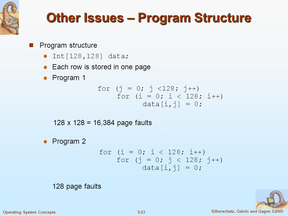 9.63 Silberschatz, Galvin and Gagne ©2005 Operating System Concepts Other Issues – Program Structure Program structure l Int[128,128] data; Each row i