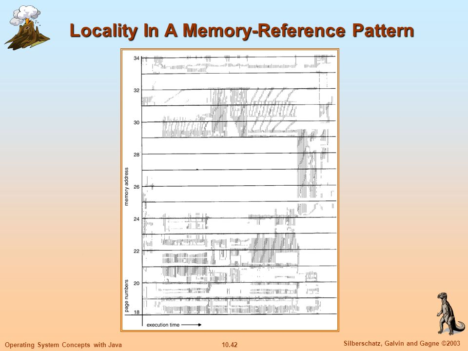 10.42 Silberschatz, Galvin and Gagne ©2003 Operating System Concepts with Java Locality In A Memory-Reference Pattern