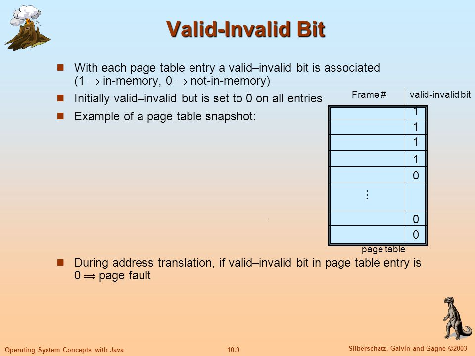 10.9 Silberschatz, Galvin and Gagne ©2003 Operating System Concepts with Java Valid-Invalid Bit With each page table entry a valid–invalid bit is asso
