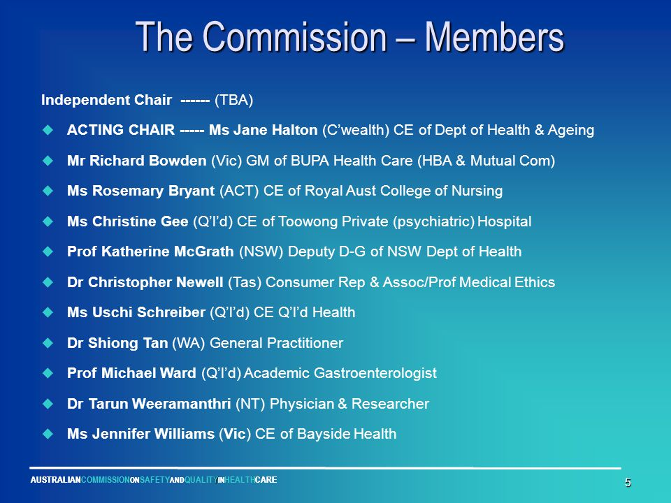 Y AUSTRALIANCOMMISSION ON SAFETY AND QUALITY IN HEALTHCARE 5 The Commission – Members The Commission – Members Independent Chair ------ (TBA)  ACTING CHAIR ----- Ms Jane Halton (C'wealth) CE of Dept of Health & Ageing  Mr Richard Bowden (Vic) GM of BUPA Health Care (HBA & Mutual Com)  Ms Rosemary Bryant (ACT) CE of Royal Aust College of Nursing  Ms Christine Gee (Q'l'd) CE of Toowong Private (psychiatric) Hospital  Prof Katherine McGrath (NSW) Deputy D-G of NSW Dept of Health  Dr Christopher Newell (Tas) Consumer Rep & Assoc/Prof Medical Ethics  Ms Uschi Schreiber (Q'l'd) CE Q'l'd Health  Dr Shiong Tan (WA) General Practitioner  Prof Michael Ward (Q'l'd) Academic Gastroenterologist  Dr Tarun Weeramanthri (NT) Physician & Researcher  Ms Jennifer Williams (Vic) CE of Bayside Health