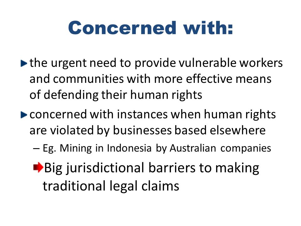 Concerned with: the urgent need to provide vulnerable workers and communities with more effective means of defending their human rights concerned with instances when human rights are violated by businesses based elsewhere – Eg.
