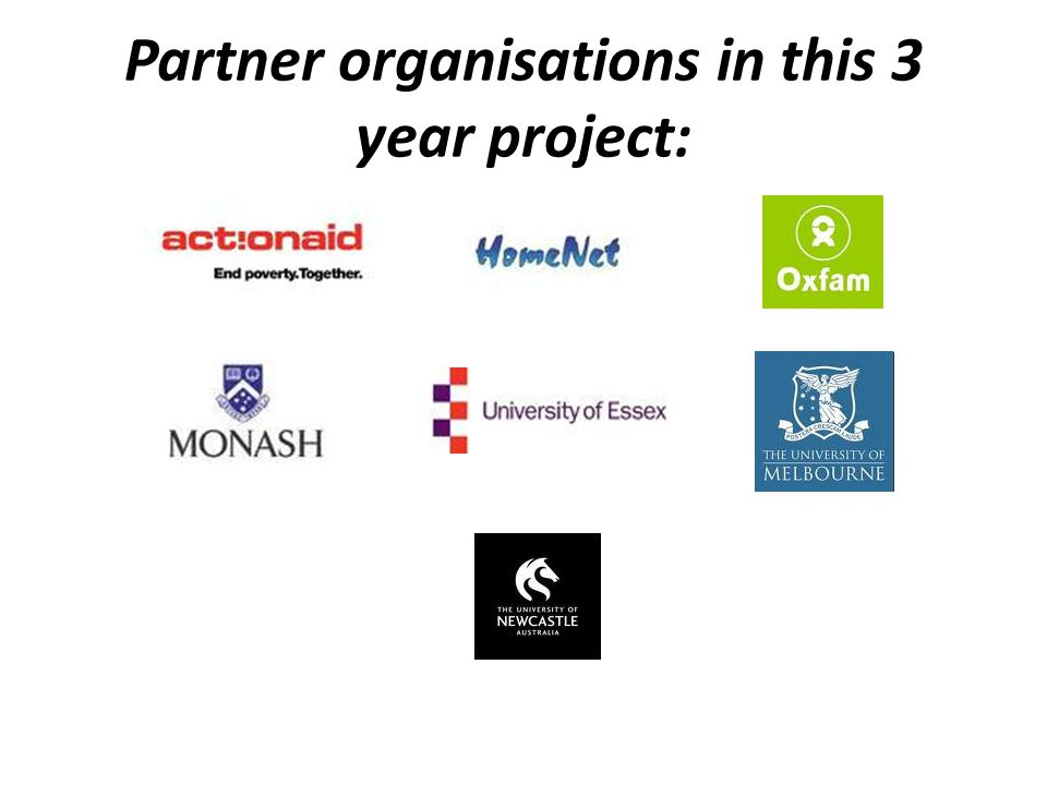 Partner organisations in this 3 year project: