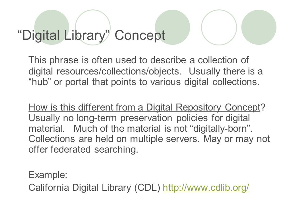 Digital Library Concept This phrase is often used to describe a collection of digital resources/collections/objects.