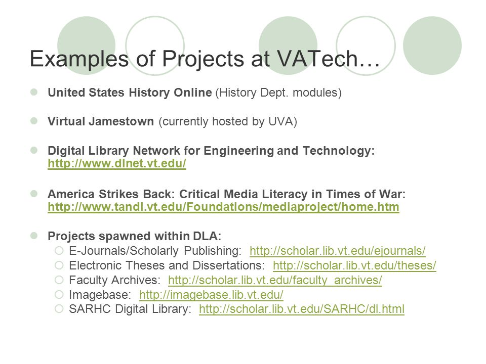 Examples of Projects at VATech… United States History Online (History Dept.