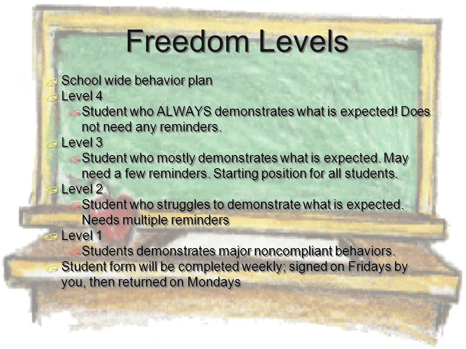 Freedom Levels  School wide behavior plan  Level 4  Student who ALWAYS demonstrates what is expected.
