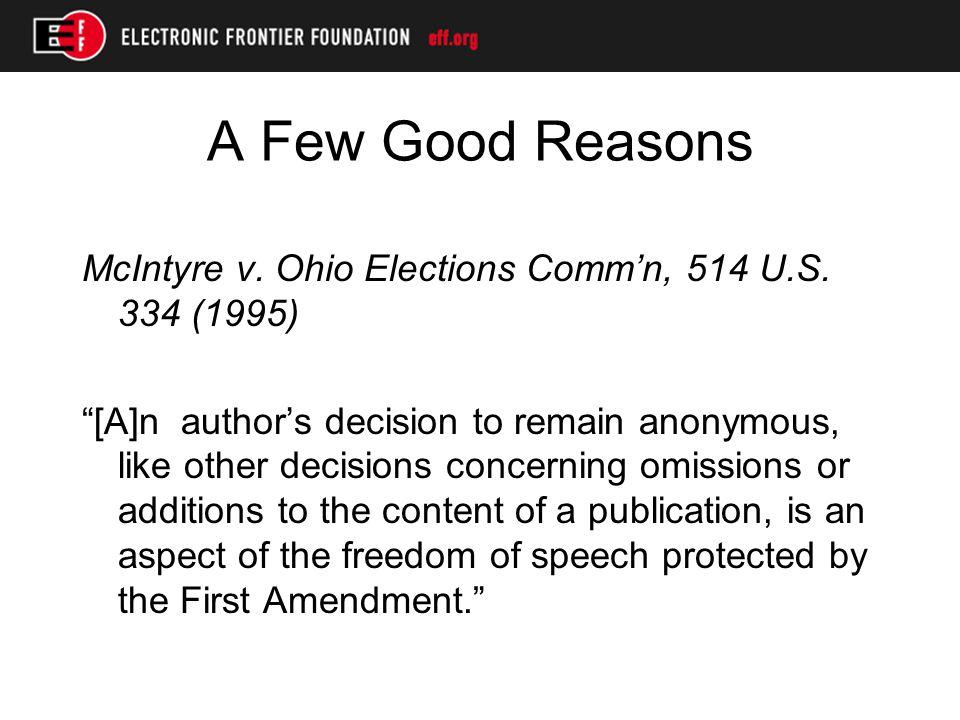 A Few Good Reasons Gibson v.Fla. Legislative Investigative Comm'n, 372 U.S.