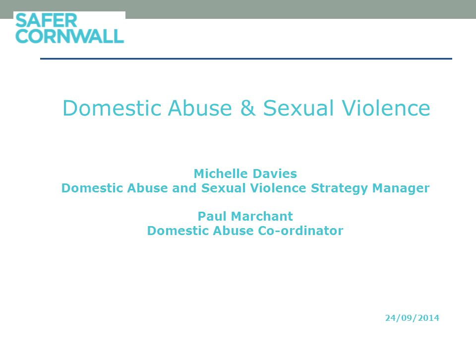 Domestic Abuse & Sexual Violence Michelle Davies Domestic Abuse and Sexual Violence Strategy Manager Paul Marchant Domestic Abuse Co-ordinator 24/09/2014