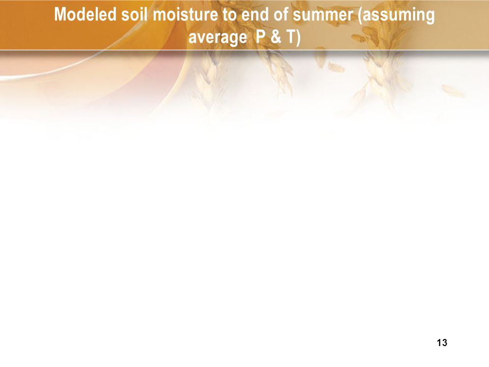 13 Modeled soil moisture to end of summer (assuming average P & T)