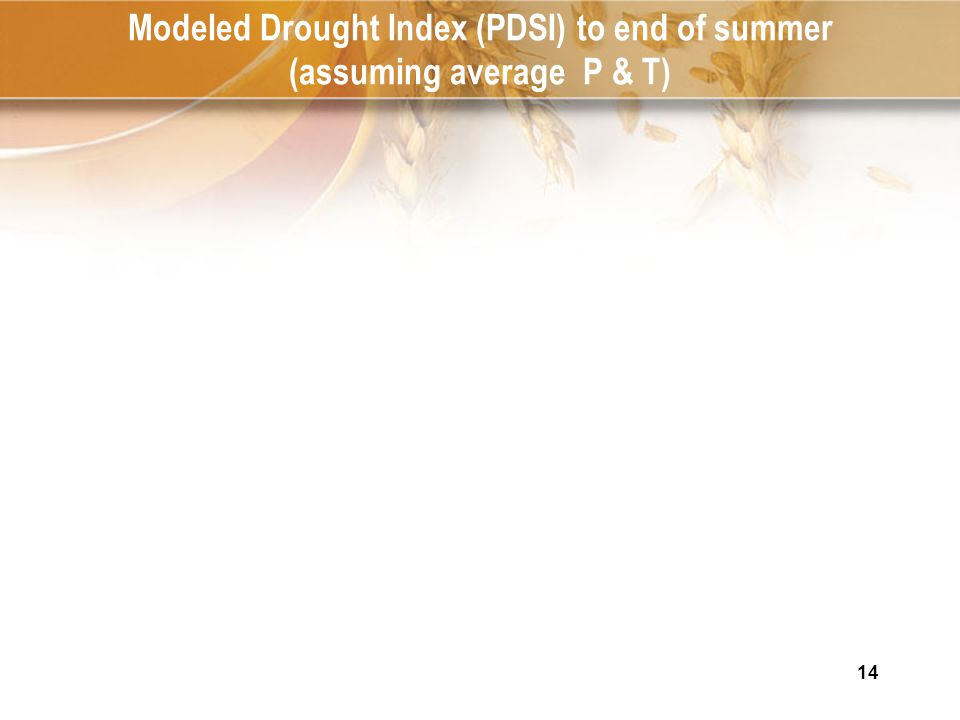 14 Modeled Drought Index (PDSI) to end of summer (assuming average P & T)