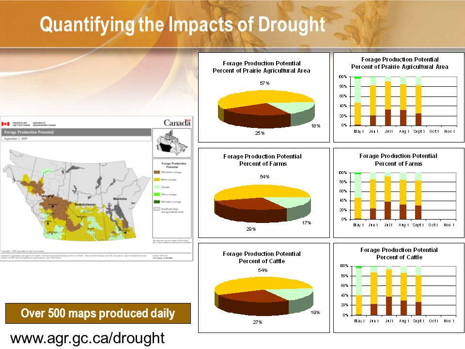 16 Quantifying the Impacts of Drought Over 500 maps produced daily www.agr.gc.ca/drought
