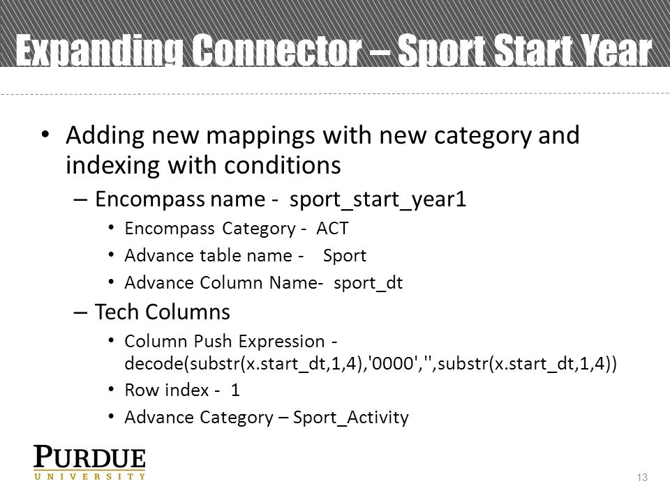 13 Expanding Connector – Sport Start Year Adding new mappings with new category and indexing with conditions – Encompass name - sport_start_year1 Encompass Category - ACT Advance table name - Sport Advance Column Name- sport_dt – Tech Columns Column Push Expression - decode(substr(x.start_dt,1,4), 0000 , ,substr(x.start_dt,1,4)) Row index - 1 Advance Category – Sport_Activity