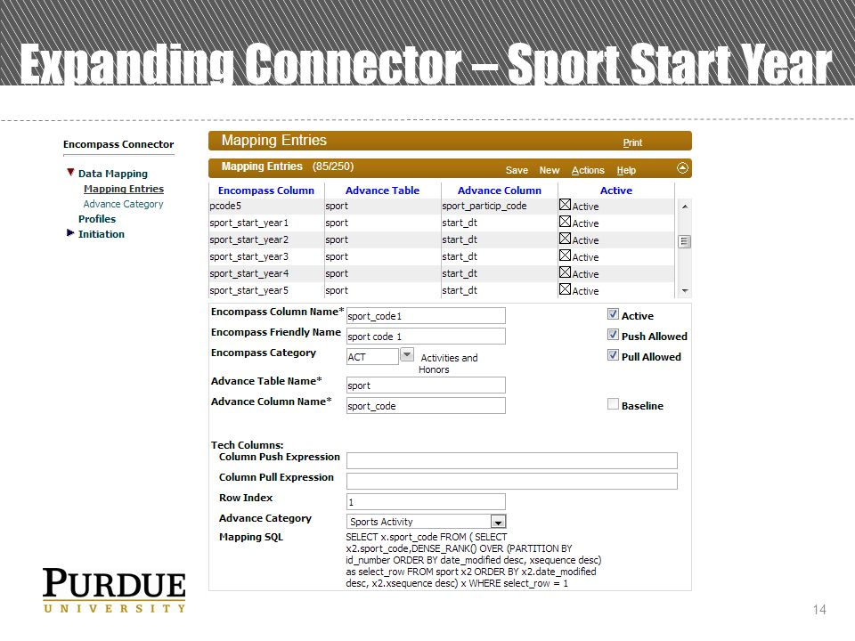 14 Expanding Connector – Sport Start Year