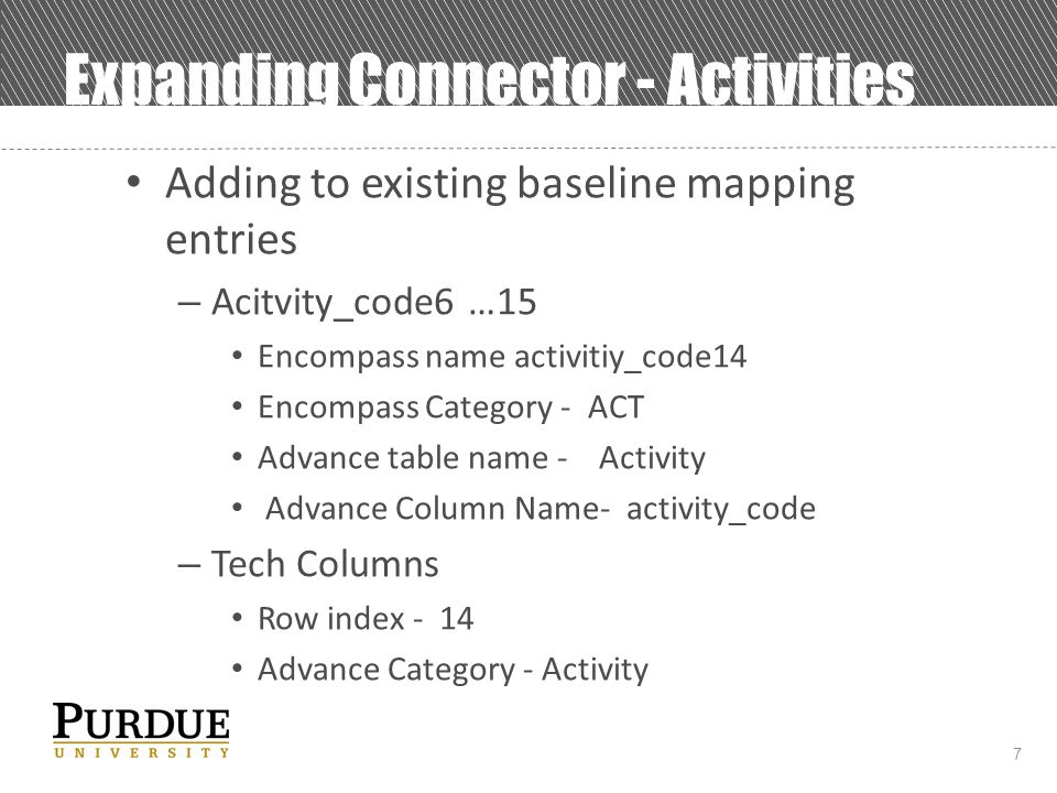 7 Expanding Connector - Activities Adding to existing baseline mapping entries – Acitvity_code6 …15 Encompass name activitiy_code14 Encompass Category - ACT Advance table name - Activity Advance Column Name- activity_code – Tech Columns Row index - 14 Advance Category - Activity