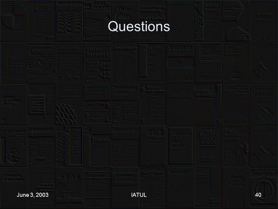 June 3, 2003IATUL40 Questions
