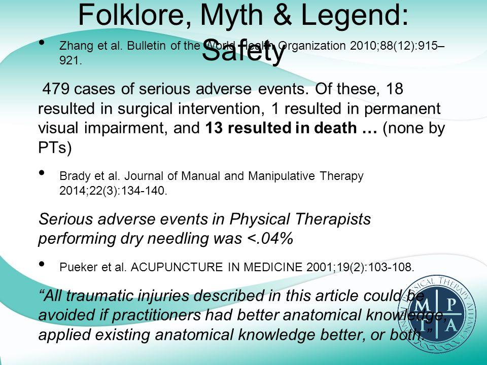 Folklore, Myth & Legend: Safety Zhang et al.