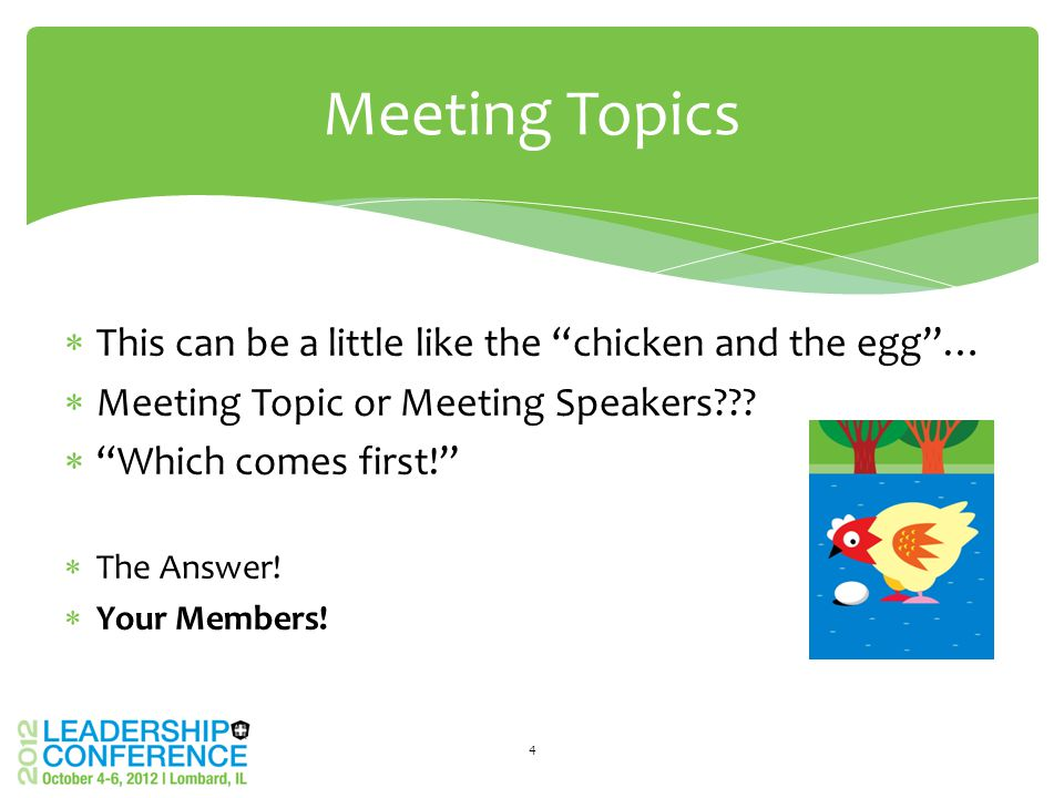  This can be a little like the chicken and the egg …  Meeting Topic or Meeting Speakers .