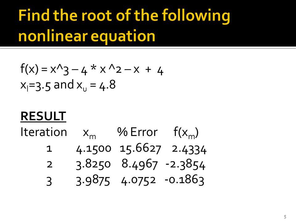 f(x) = x^3 – 4 * x ^2 – x + 4 x l =3.5 and x u = 4.8 RESULT Iteration x m % Error f(x m ) 1 4.1500 15.6627 2.4334 2 3.8250 8.4967 -2.3854 3 3.9875 4.0752 -0.1863 5